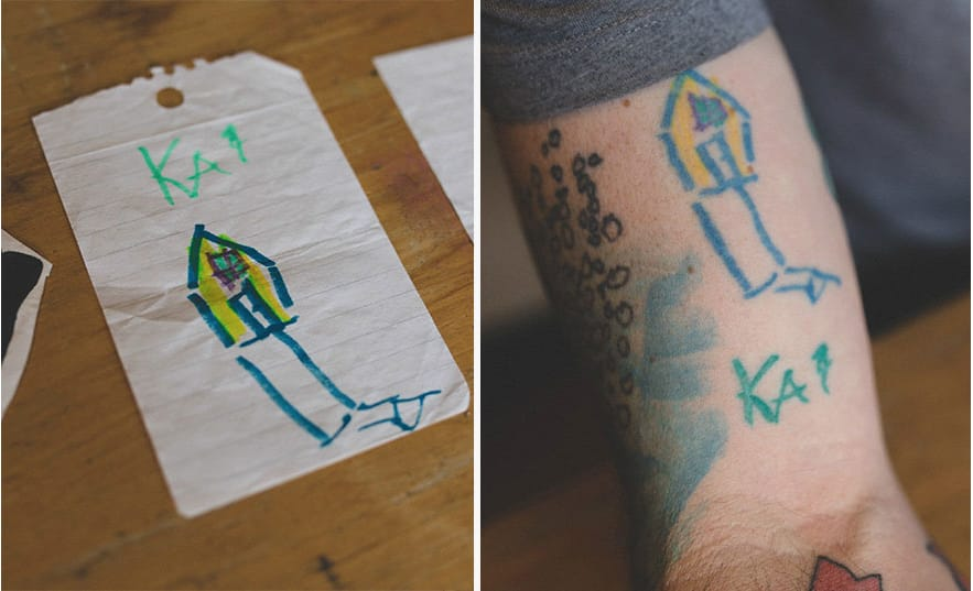 The very first tattoo, which Keith got when Kai was in kindergarten