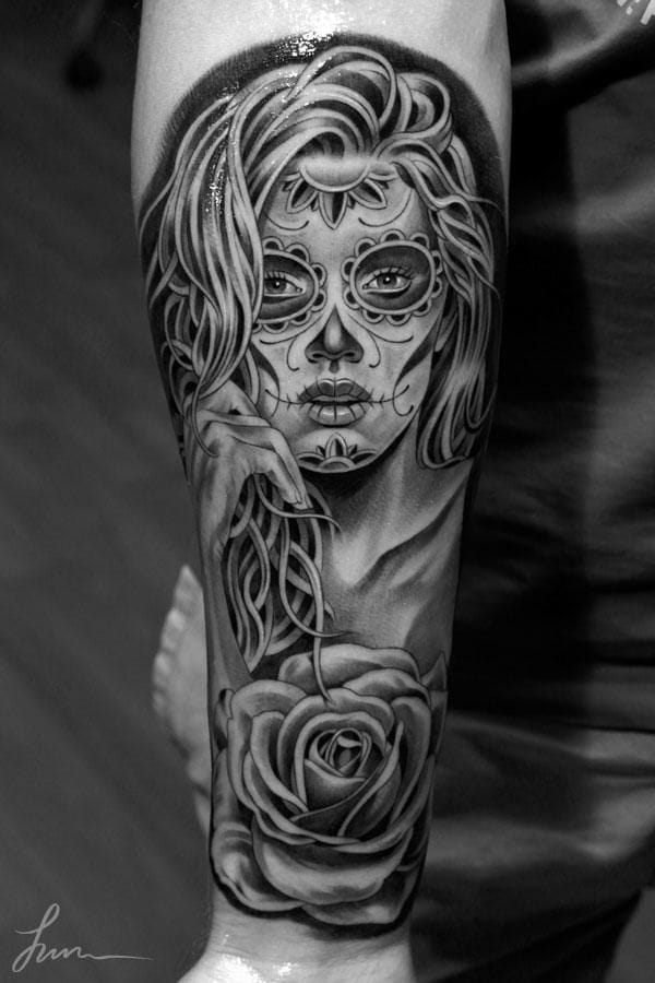 15 gorgeous la catrina tattoos tattoodo. Black Bedroom Furniture Sets. Home Design Ideas
