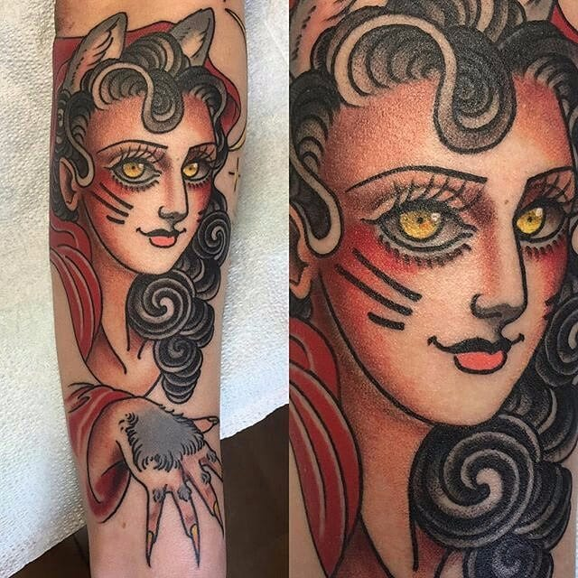 Feisty Cat Lady Tattoos That Will Make You Go Rawr