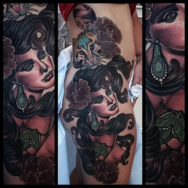 Decorative Neo Traditional Lady Tattoos by Missy Rhysing