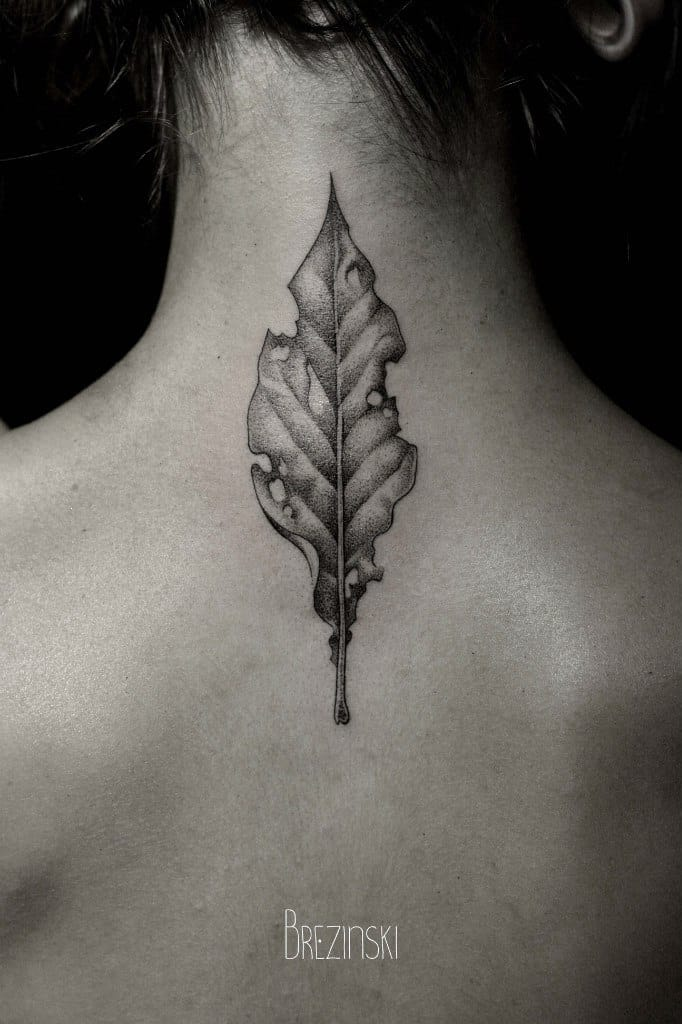 Finely worked dead leaf on the neck by Ilya Brezinski.