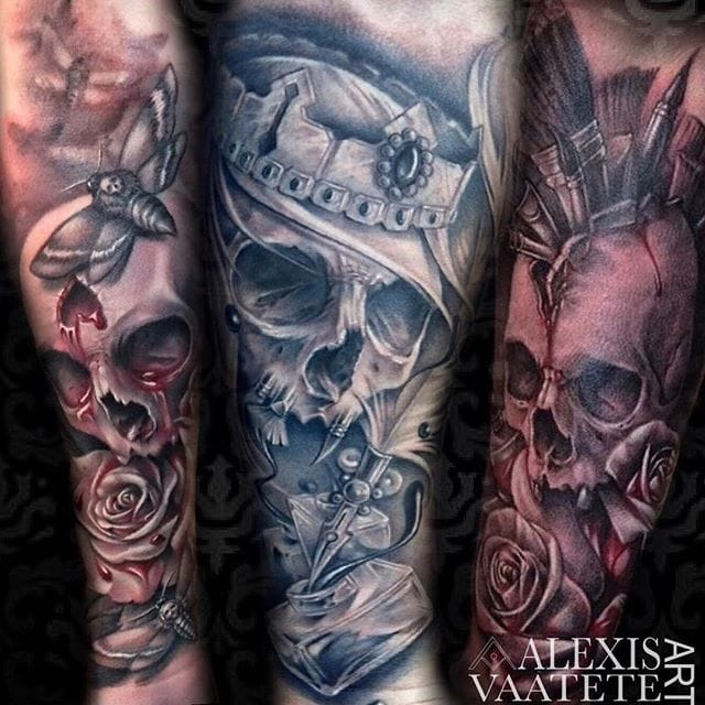 Black & Grey Owl and Skull Tattoos by Alexis Vaatete