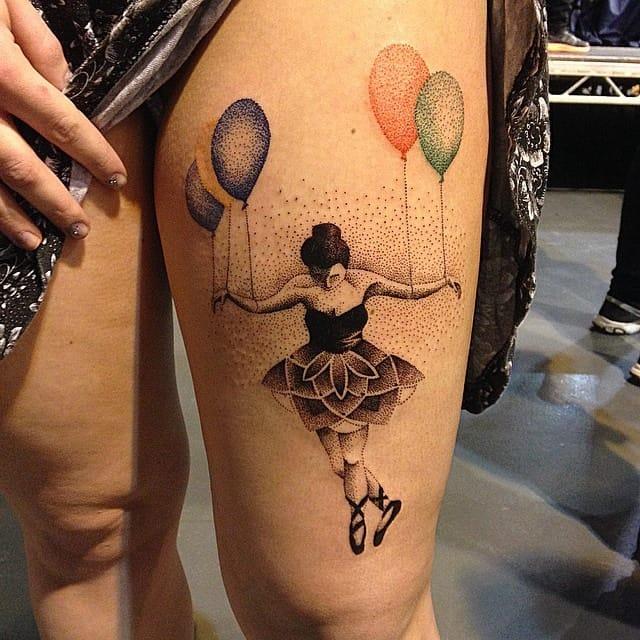 Truly poetic dotwork tattoo by Martyna Kądziela!