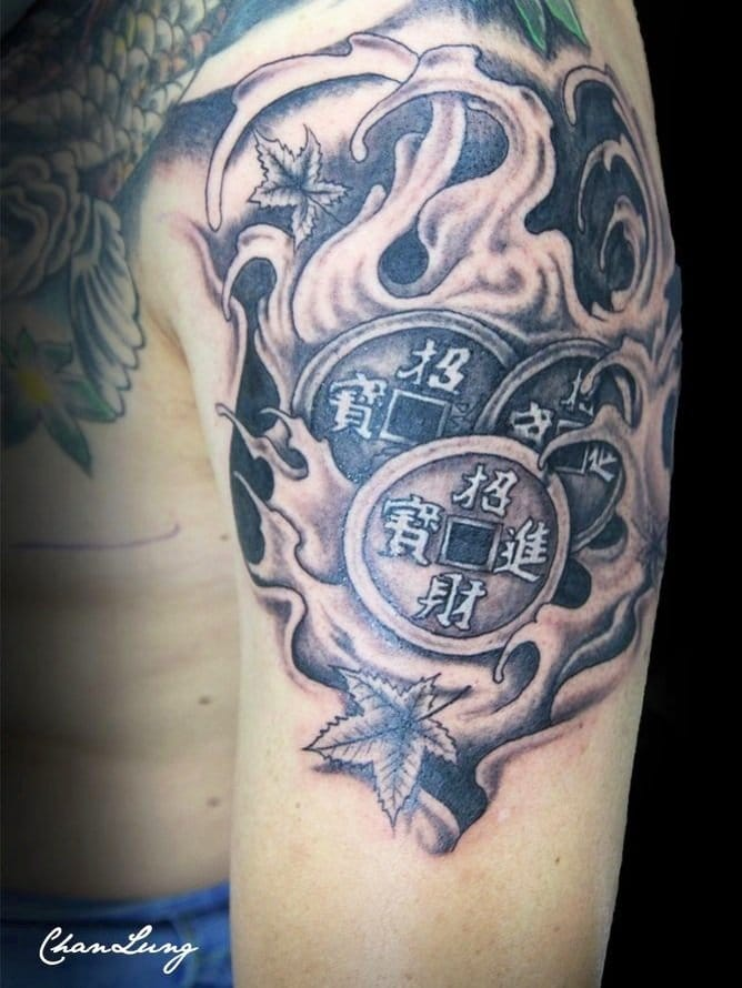 Chinese coins tattoo