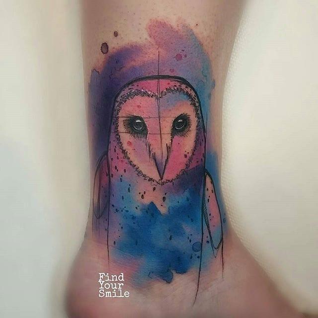 10 Enchanting Watercolor Owl Tattoos