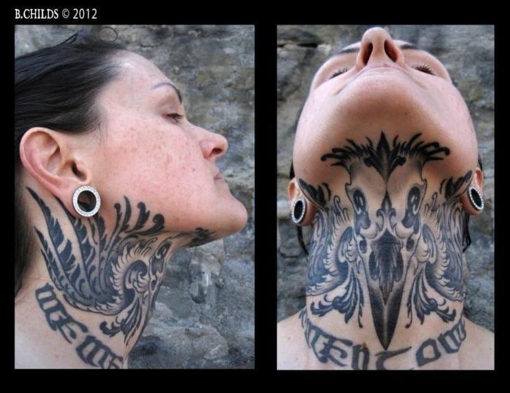Under chin tattoo