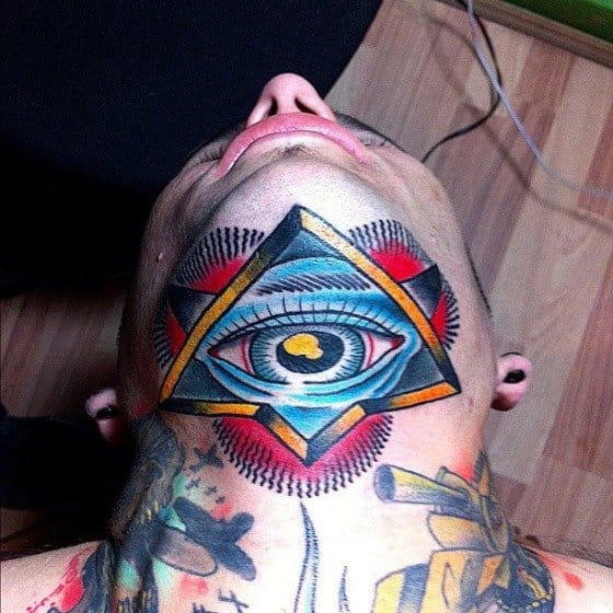 Beautiful under chin tattoo