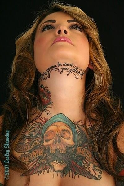 Awesome lettering under chin tattoo