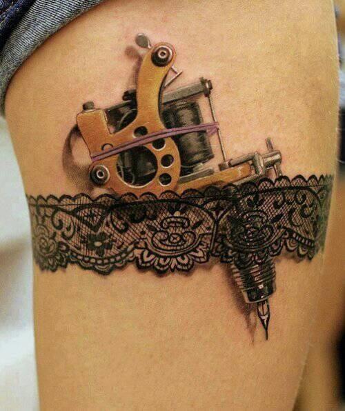 3D garter with a tattoo machine made at Giahi Tattoo.