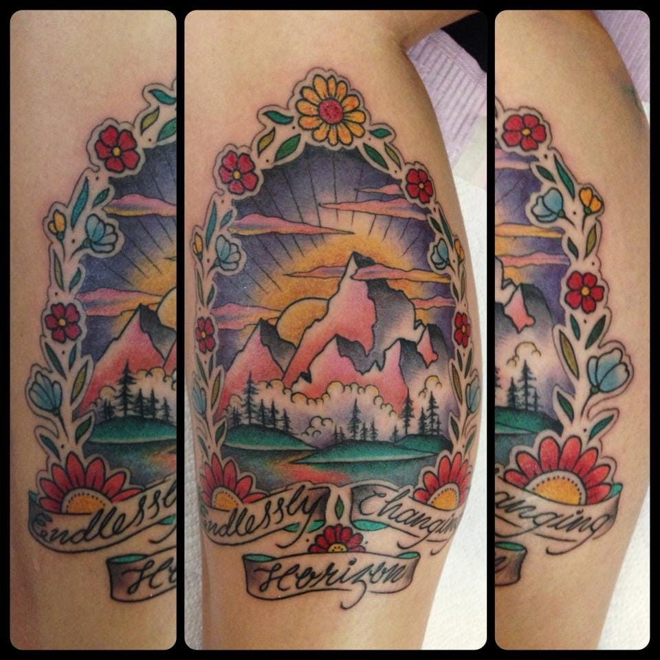 A cool old school style traveler tattoo by Guen Douglas.