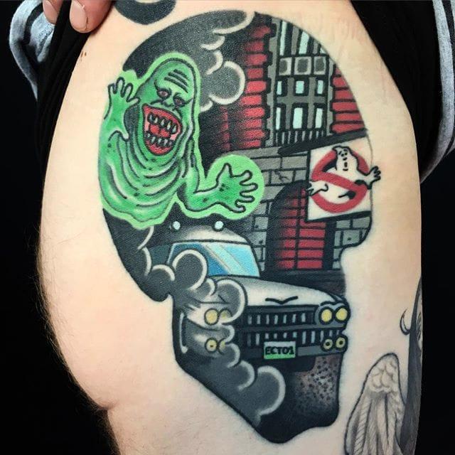 13 Zany Pop Culture Double Image Skull Tattoos by Same Kane