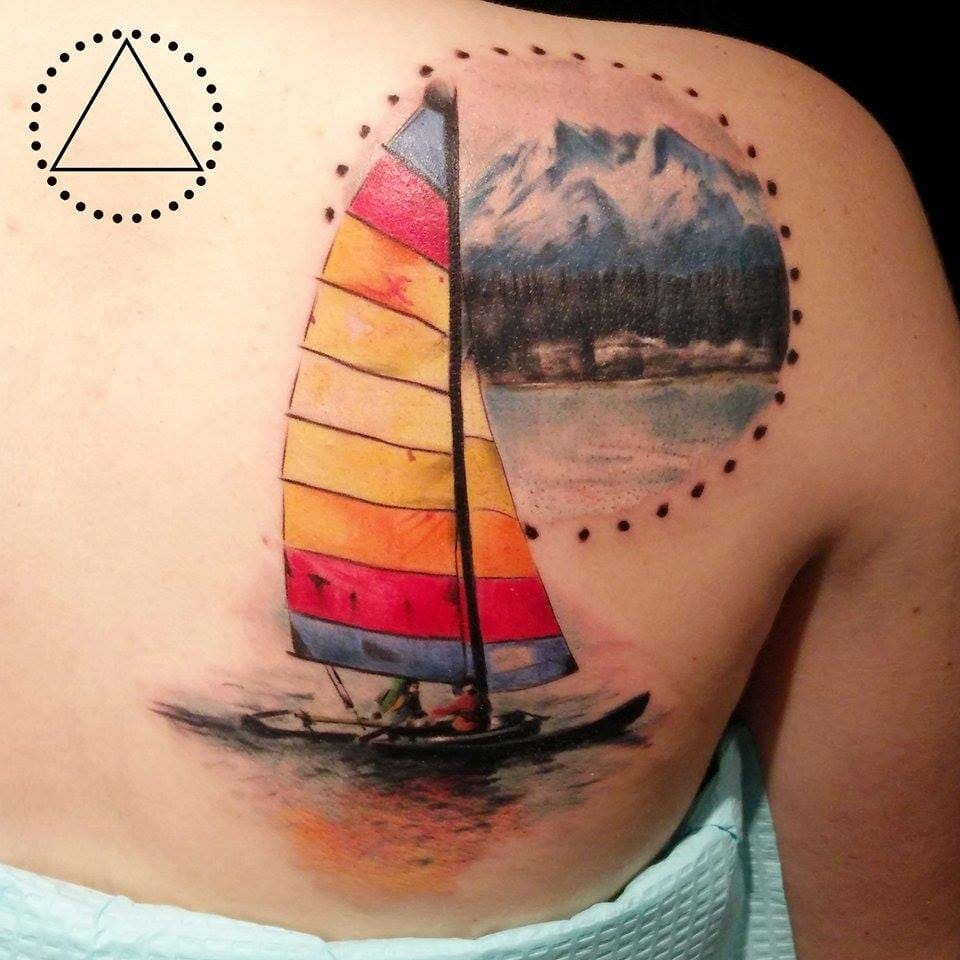 Memory from a vacation on the montain lakes? painting-like tattoo by Saga.