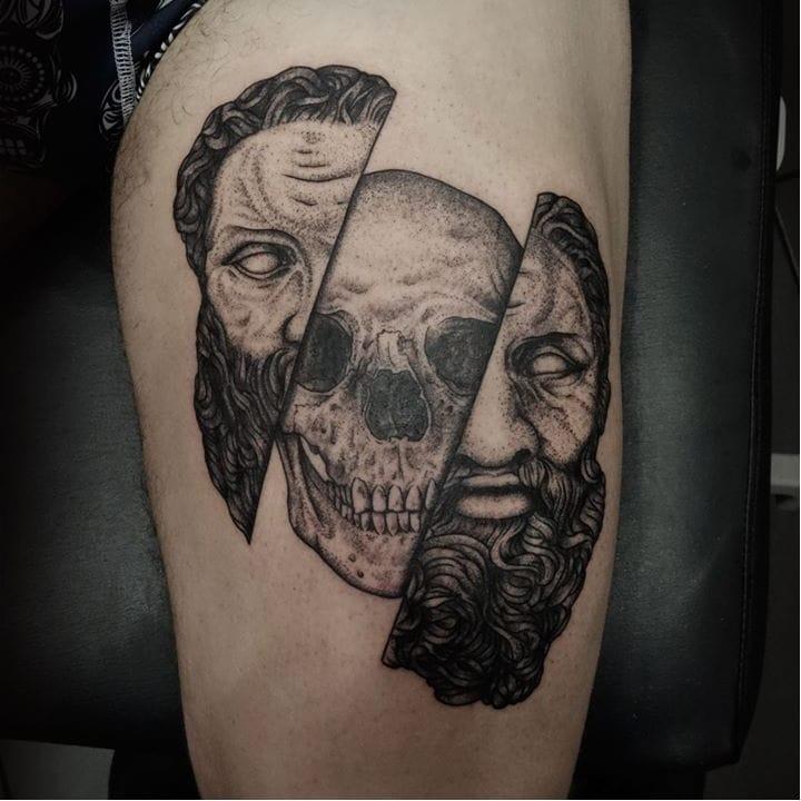 Dark Surrealistic Head Tattoos by Oked