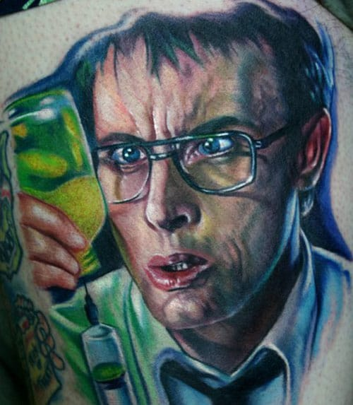 Movies adaptation of HPL's work are a good inspiration for tattoos. Here is Reanimator's hero Herbert West, by famous horror movies buff and realistic tattoo artist Paul Acker.