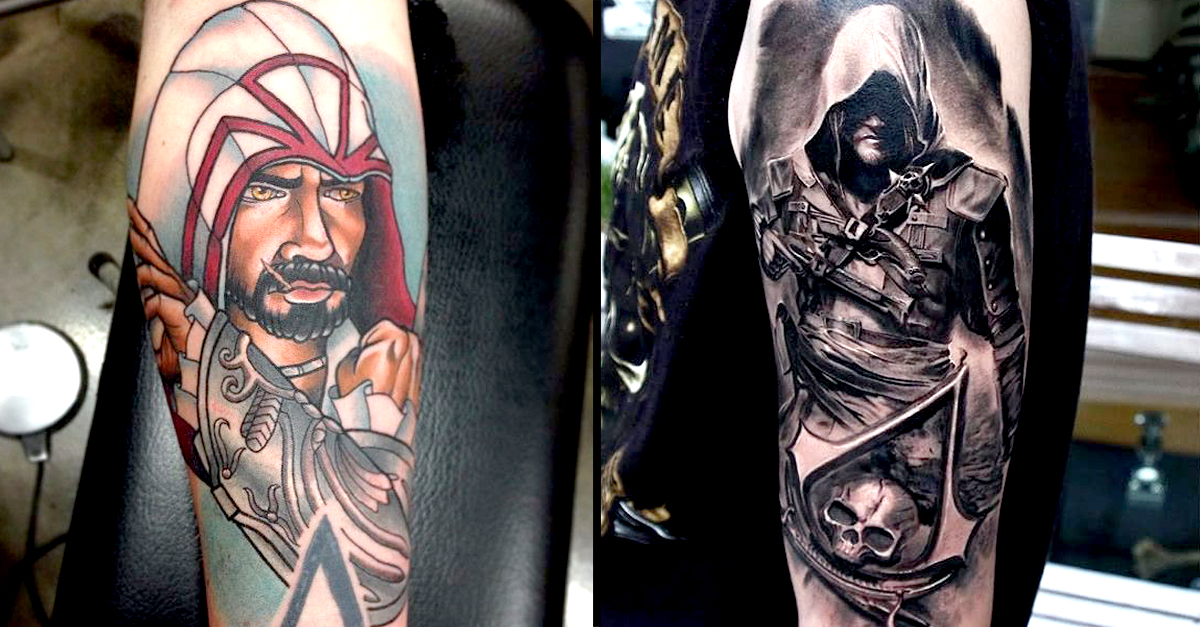 12 badass assassins creed tattoos tattoodo. Black Bedroom Furniture Sets. Home Design Ideas
