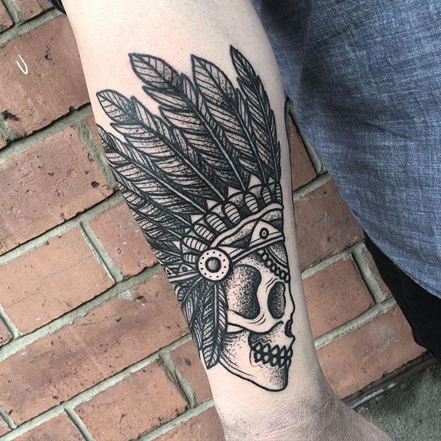 Native Skull Tattoo by Blakey Tattooer #nativeskull #nativeskulltattoo #blackworkskull #blackwork #blackworktattoo #blackworktattoos #traditionalblackwork #traditionalblackworktattoo #traditional #BlakeyTattooer