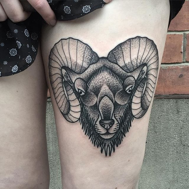 Ram Tattoo by Blakey Tattooer #ram #ramtattoo #blackworkram #blackwork #blackworktattoo #blackworktattoos #traditionalblackwork #traditionalblackworktattoo #traditional #BlakeyTattooer