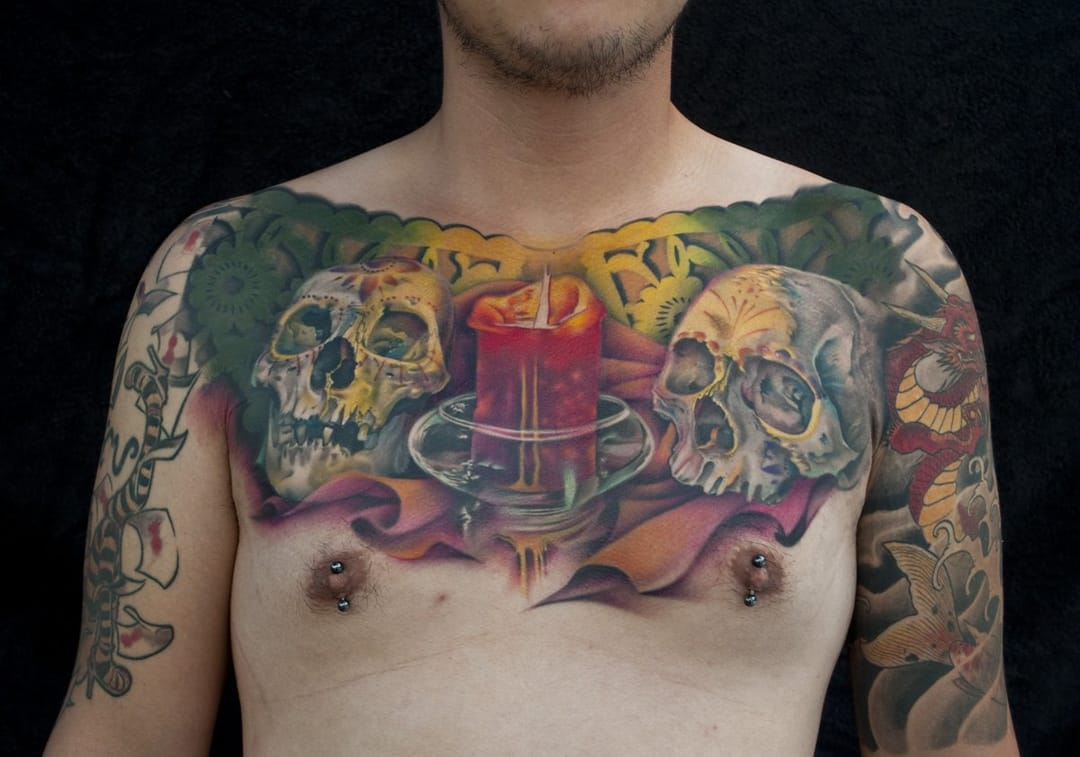 Gorgeous chestpiece by Nick Chaboya.