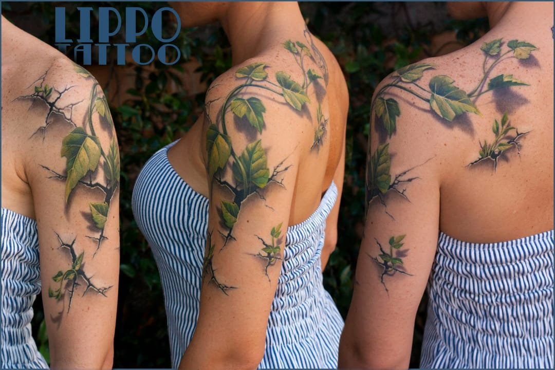 Another crazy example of 3D tattoos by Lippo!