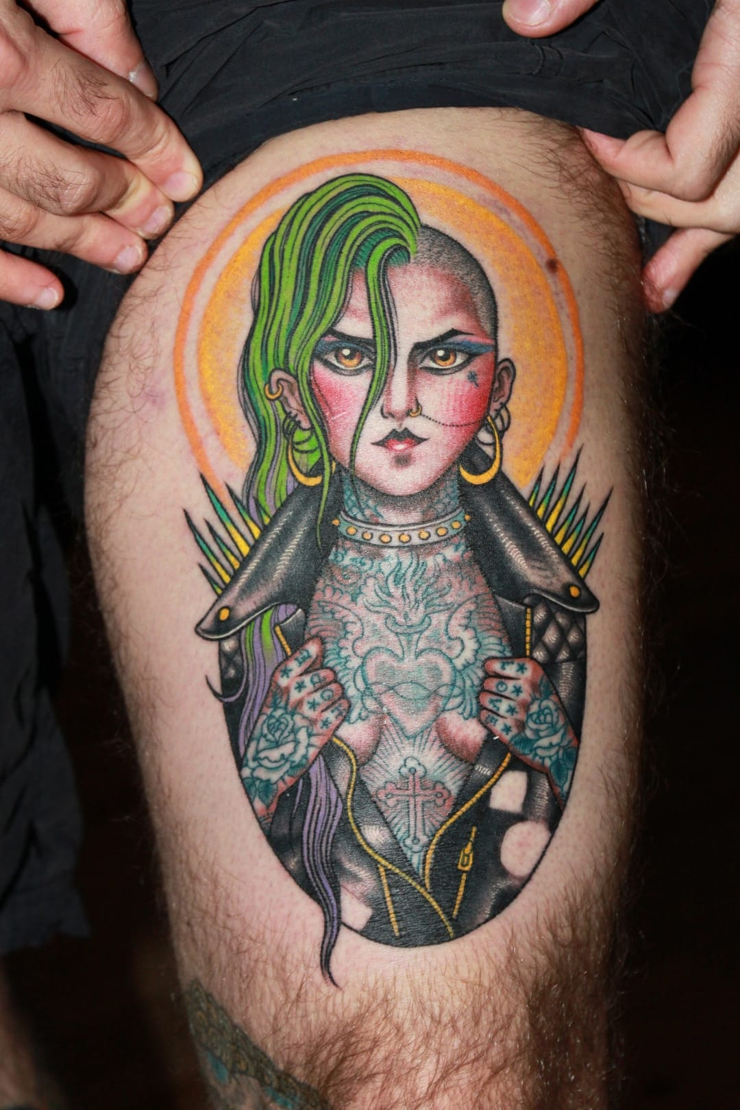 Fabulous punk girl tattoo by Valerie Vargas with so many cool détails!