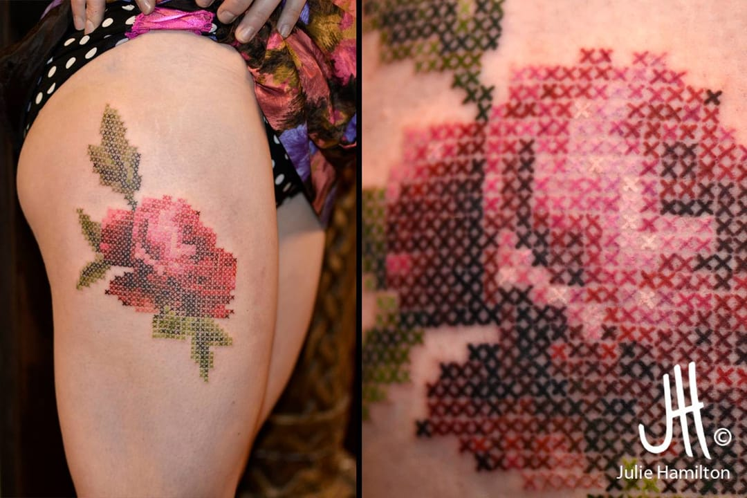 Embroidery rose tattoo by Julie Hamilton.