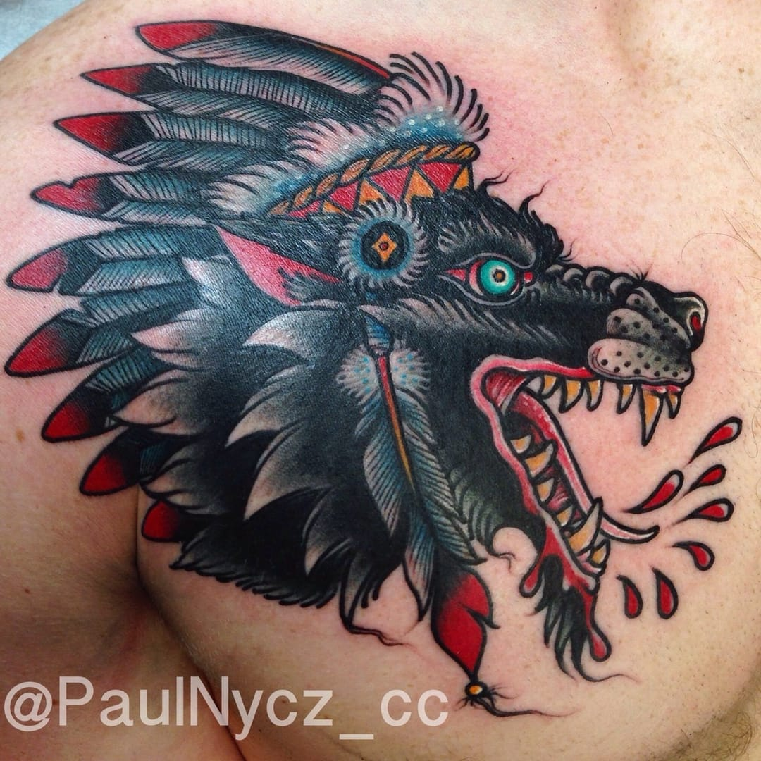25 traditional wolf tattoos tattoodo for Wolf tattoo traditional