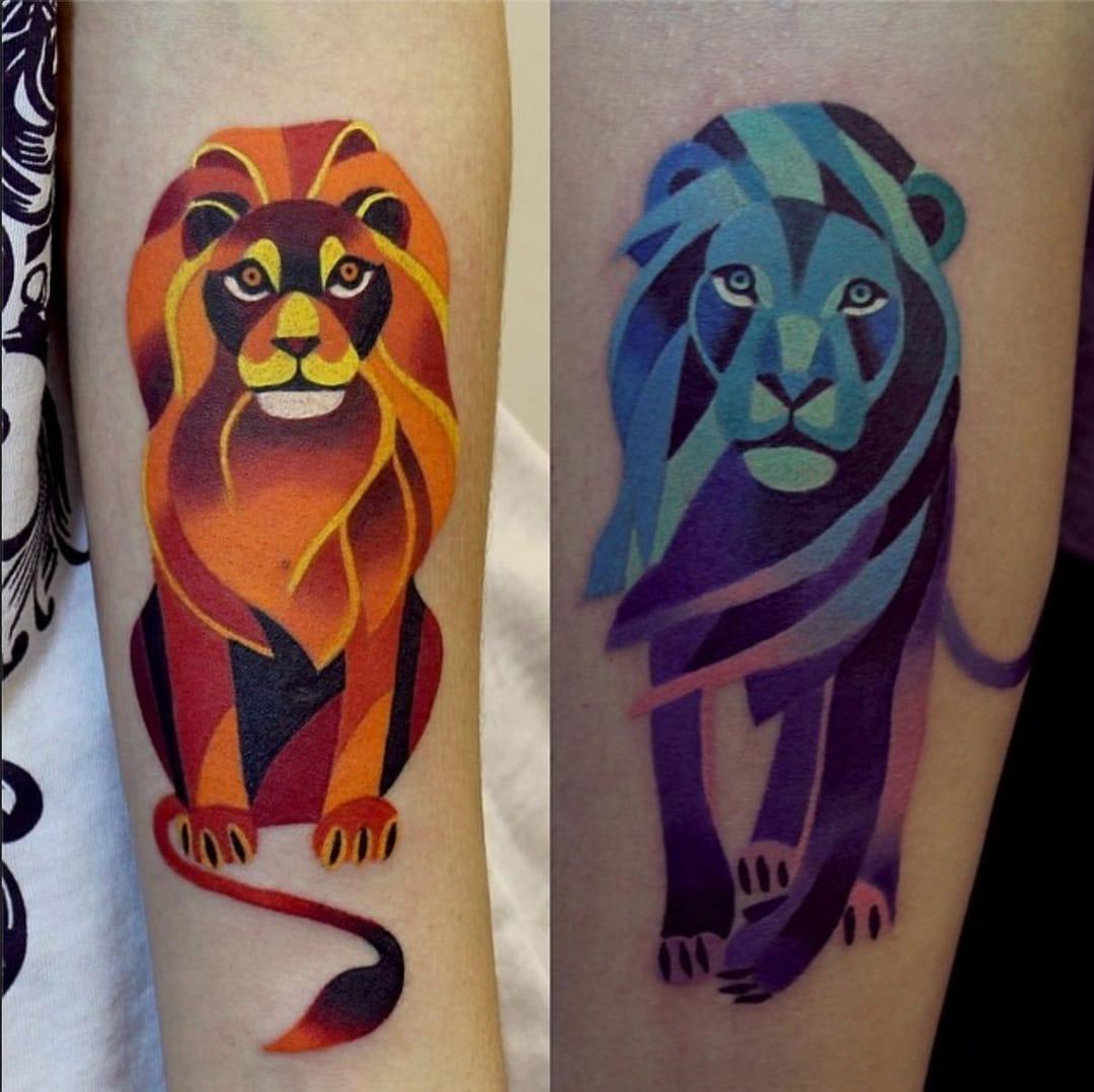 Dois Leões sob o olhar colorido de Sasha