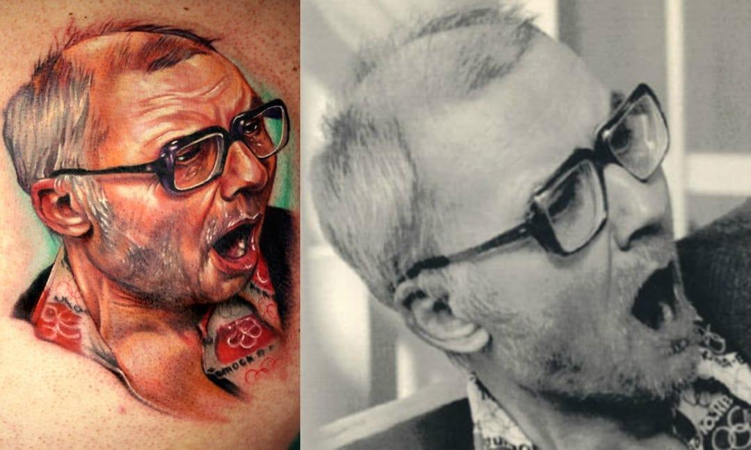 Rostov Ripper portrait tattoo by Paul Acker.