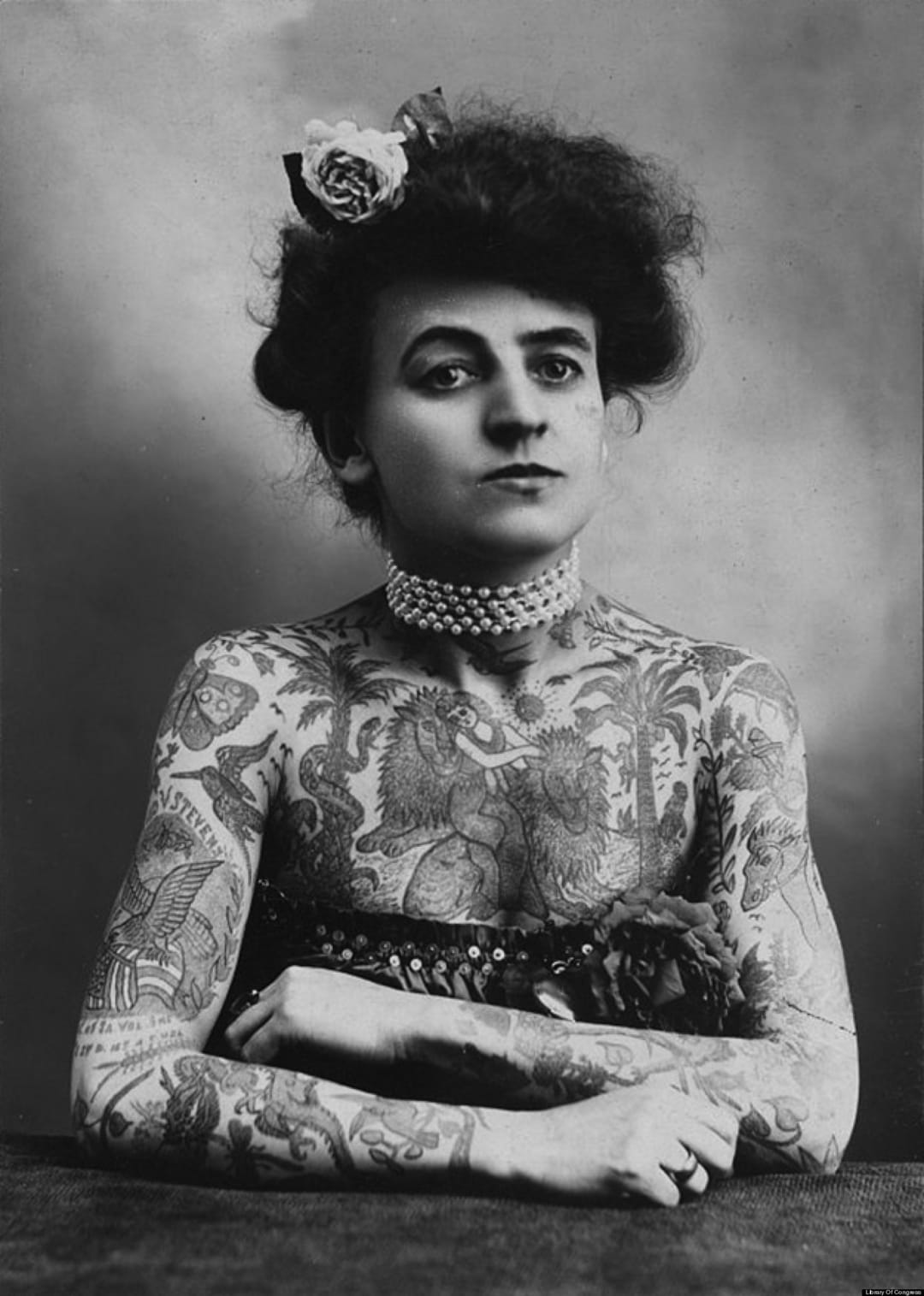Maud Vagner, an early 20th century circus performer and America's first female tattoo artist!
