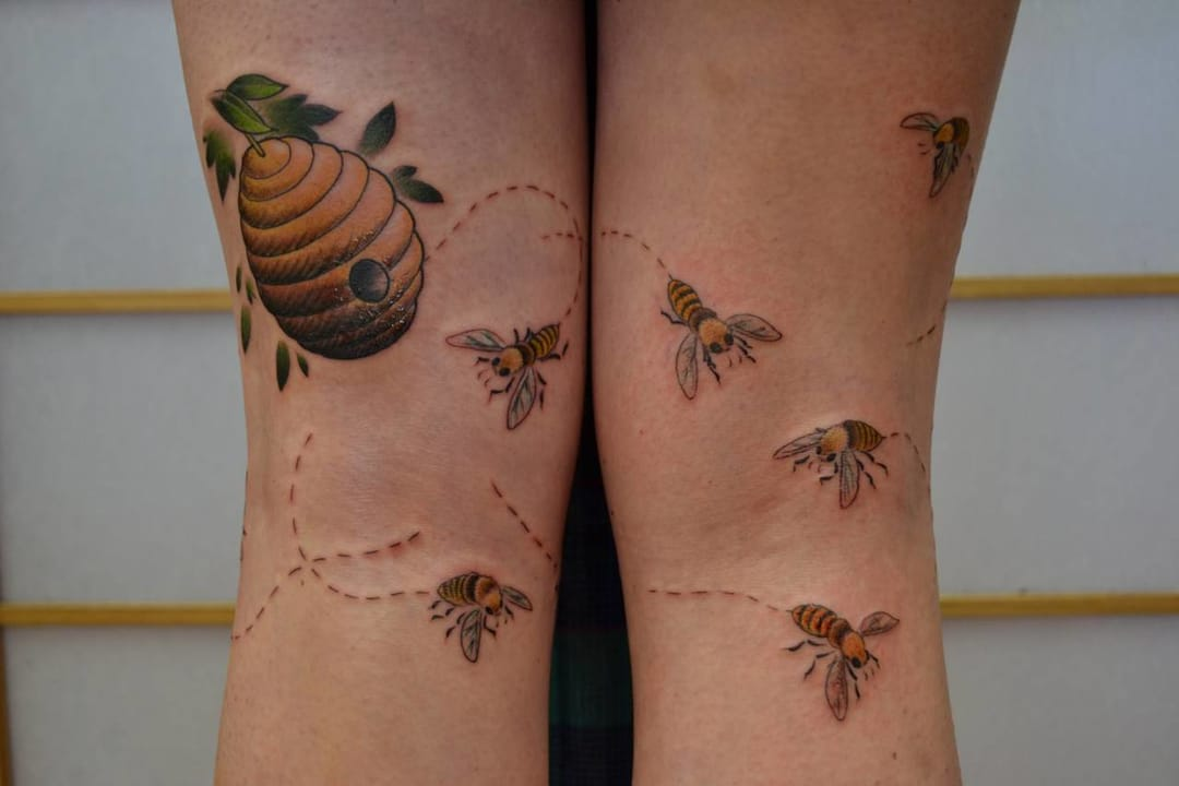 Many tattoo designs are continuing in the other leg or arm.