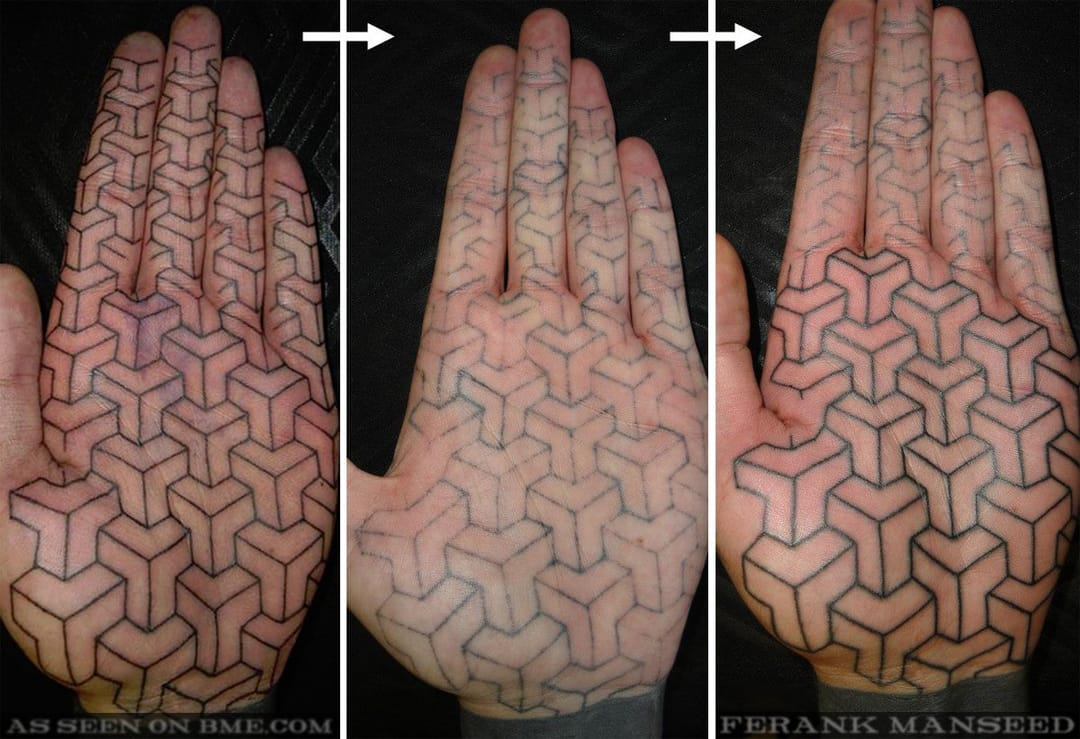 This is a perfect example of the degeneration of hand tattoos. The far left is freshly made, middle a few weeks healed, and the right photo taken during touch-up.