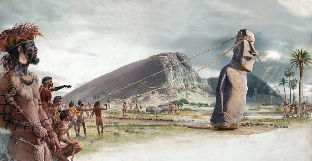 This illustration shows an archeological hypothesis of the tattooed inhabitants of Rapa Nui erecting their statues.