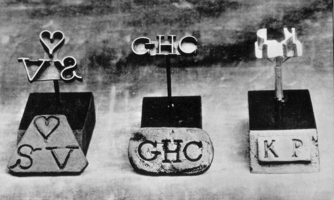 """Metal Branding Irons with Owners' Initials"", from the Atlantic Slave Trade and Slave Life in the Americas collection. Image ref. H019"