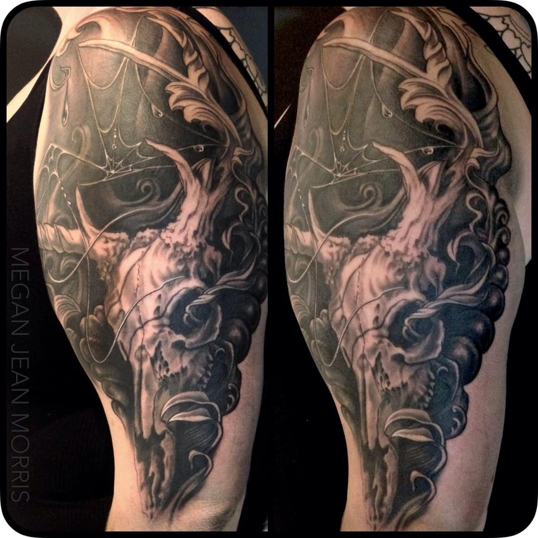Deer skull tattoo by Megan Morris