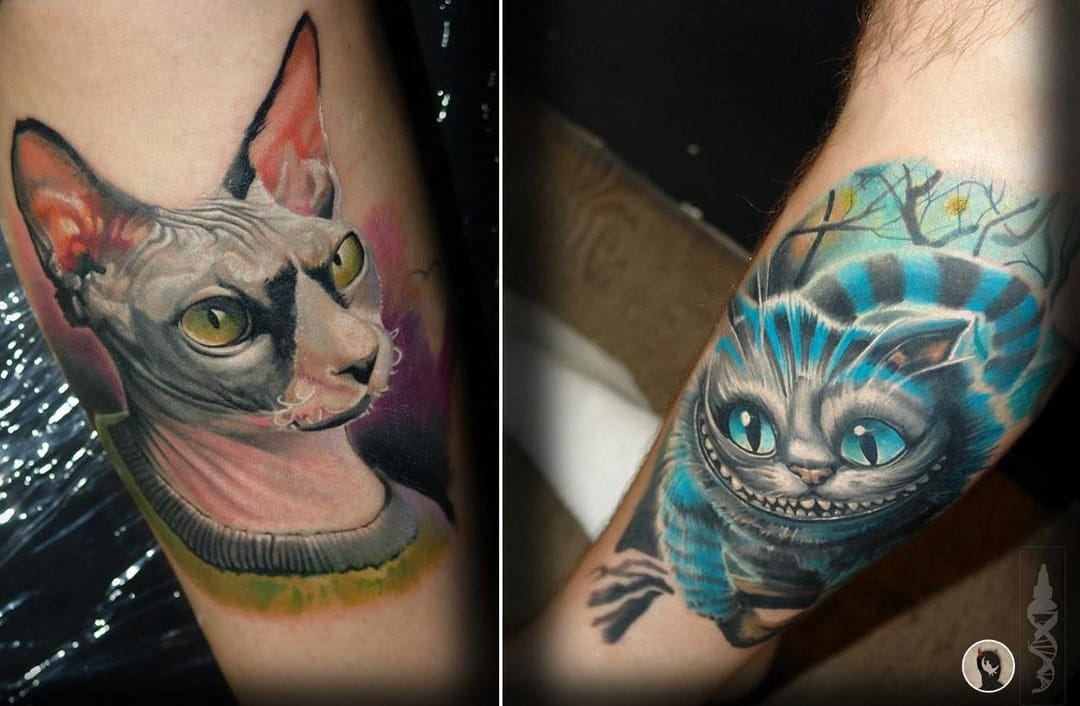 Awesome cat portrait tattoos