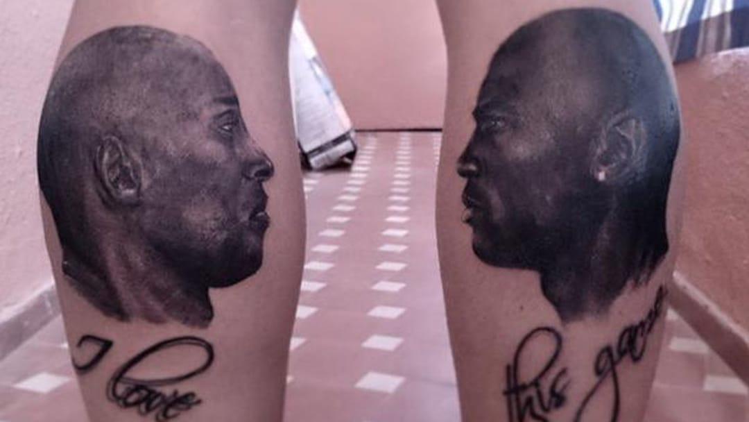 Fan Gets Jordan Vs Bryant Leg Tattoos!