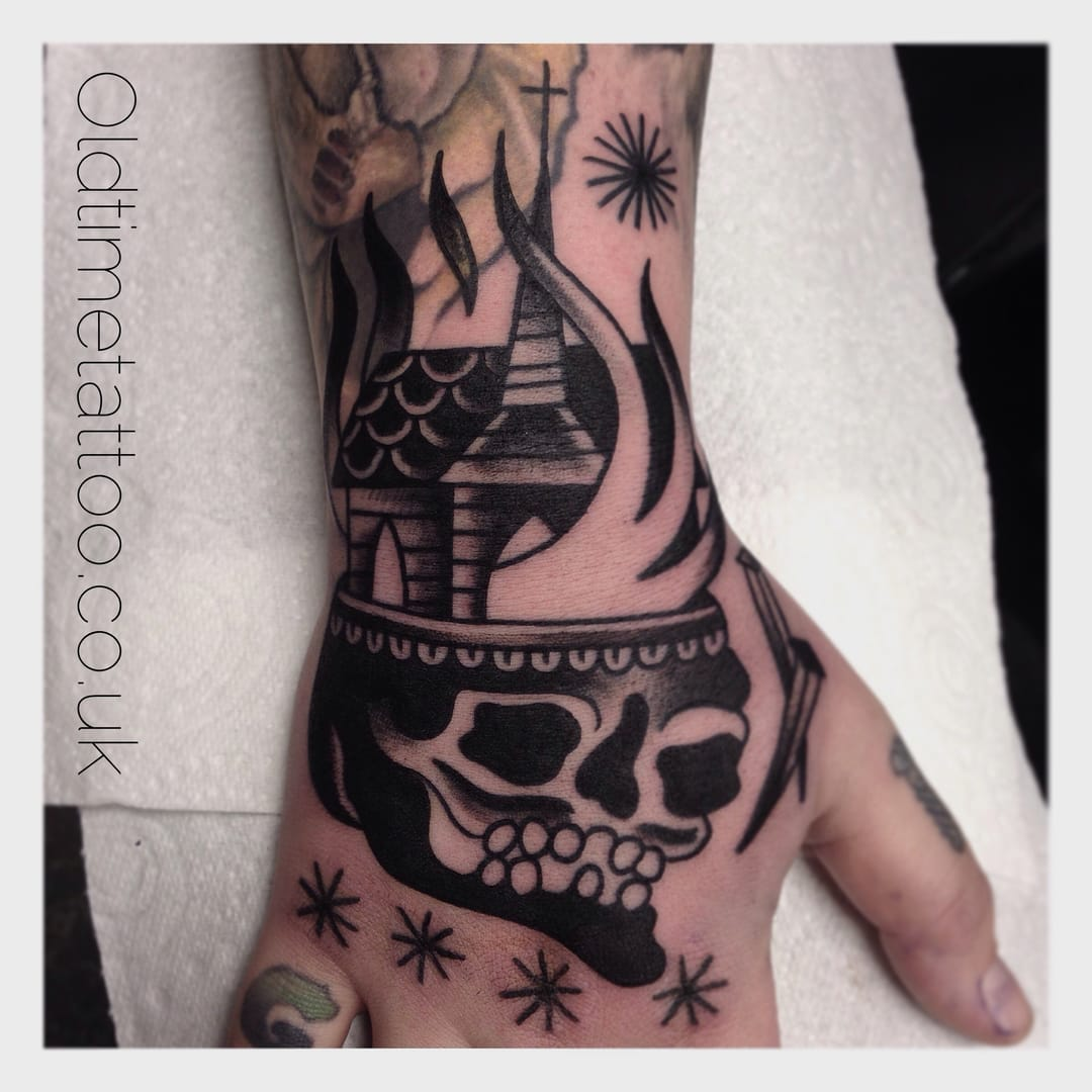 Hand Tattoo by Old Time Tattoo