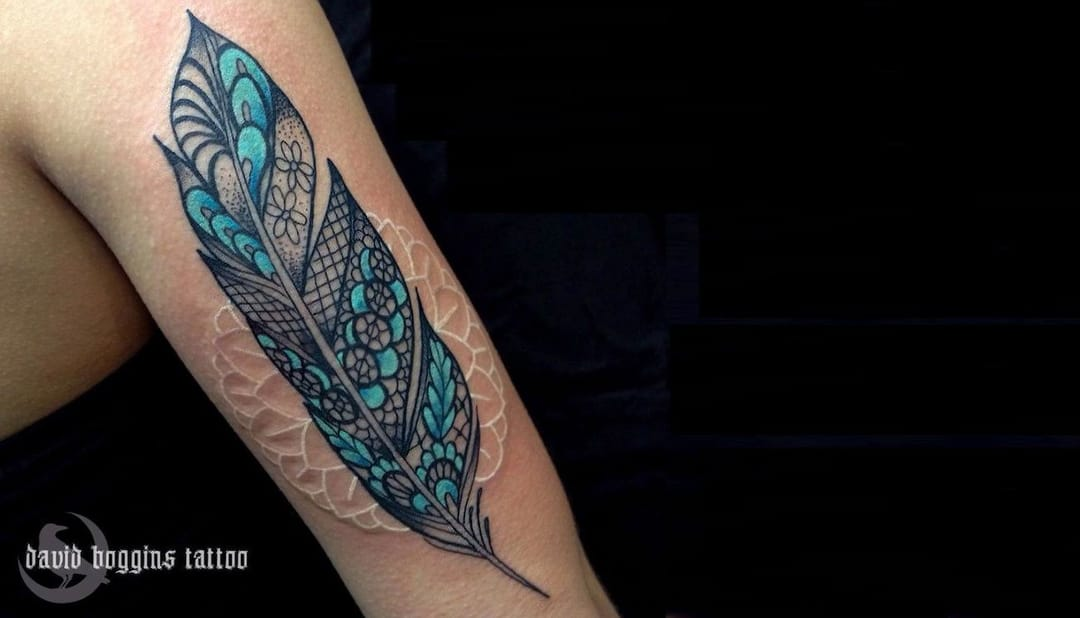 Combined with another tattoo in color, it looks really beautiful. By David Boggins.