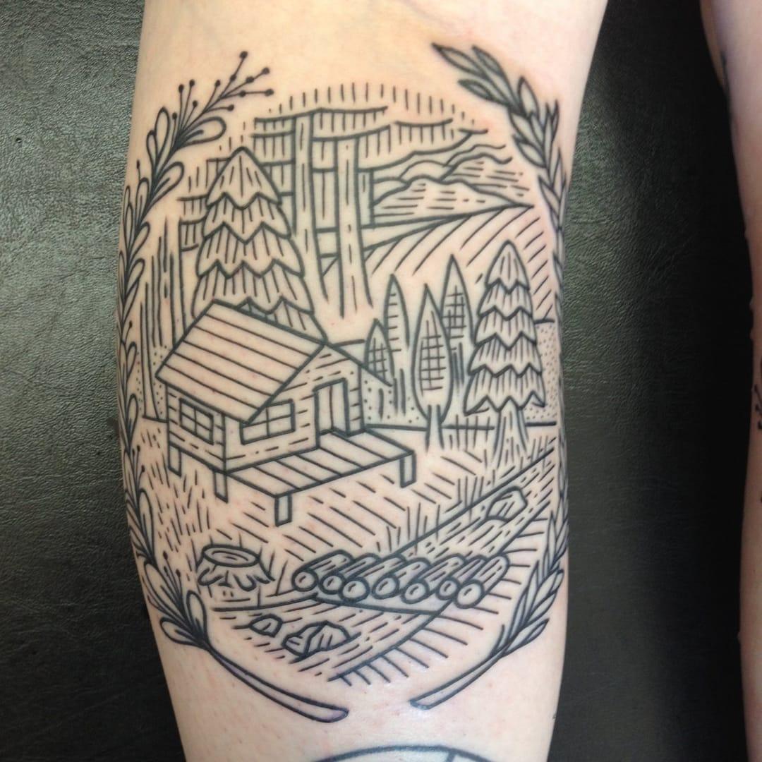 Fantastic Etching Tattoo by Gary Burns