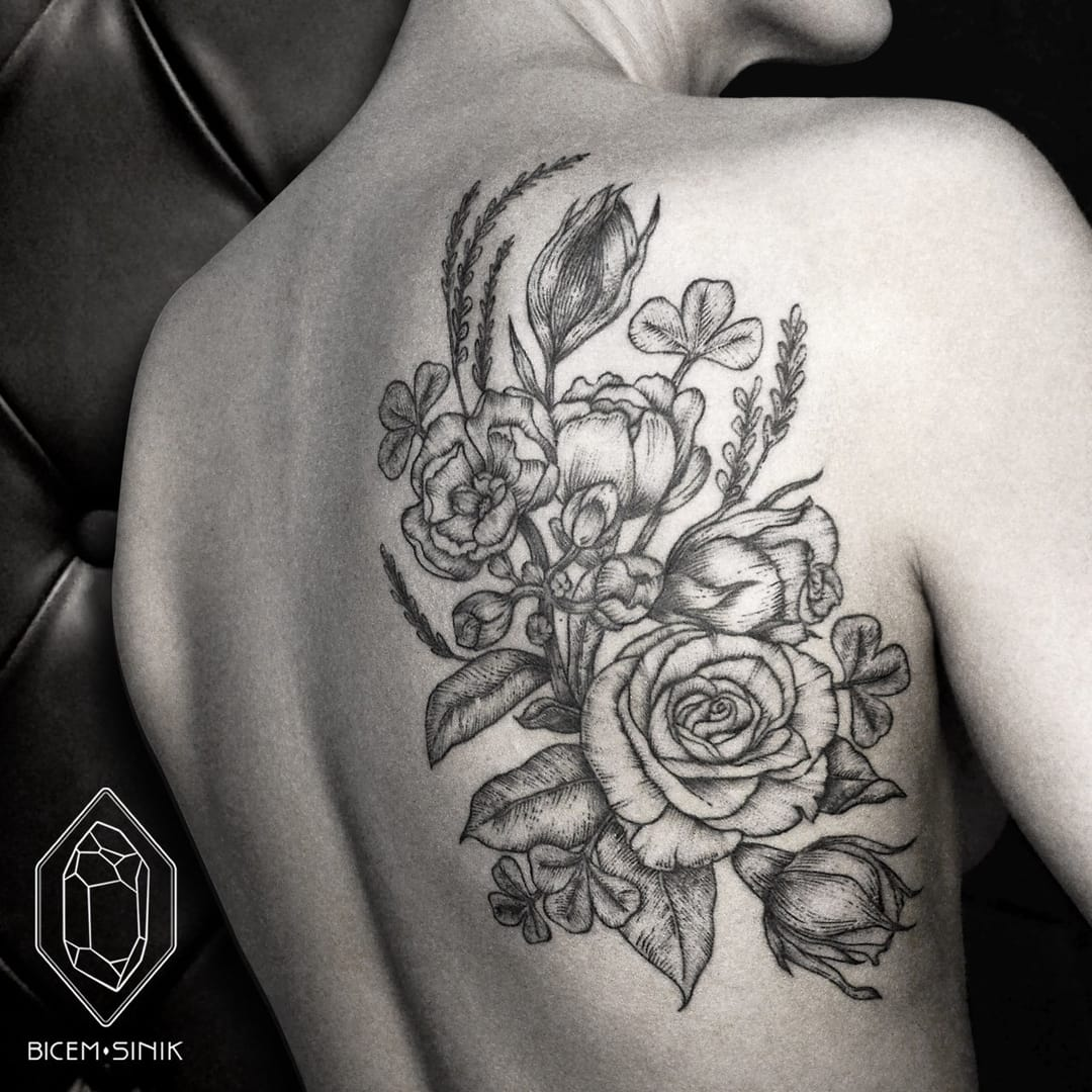 Engraving style flowers.