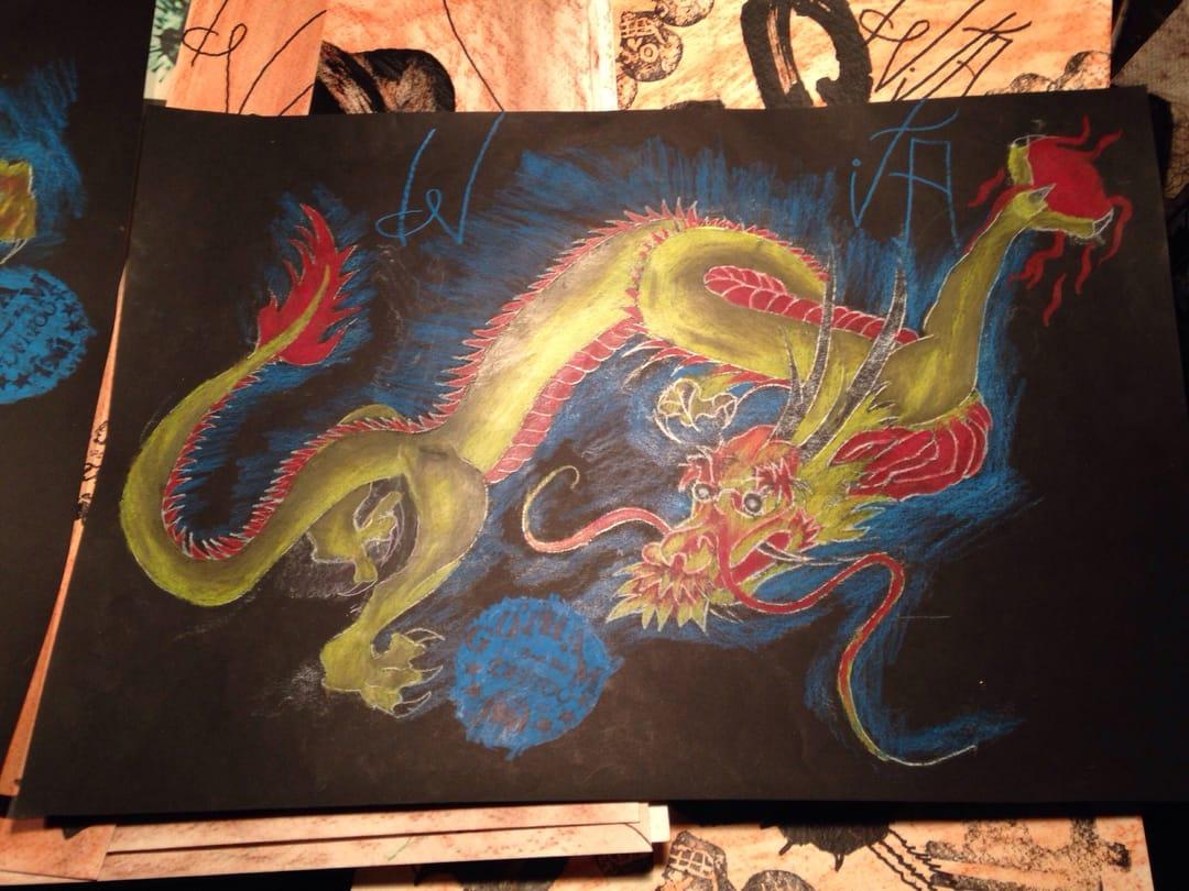 Dragon drawing by Thom de Vita