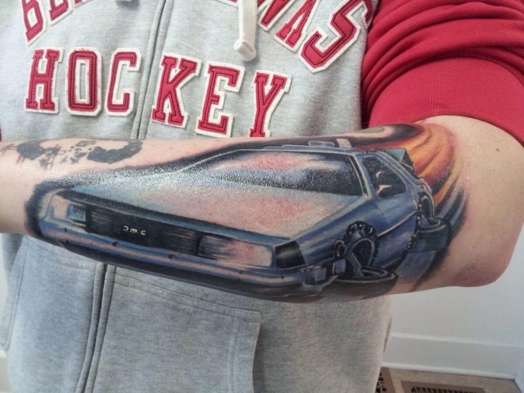 photorealistic delorean tattoo