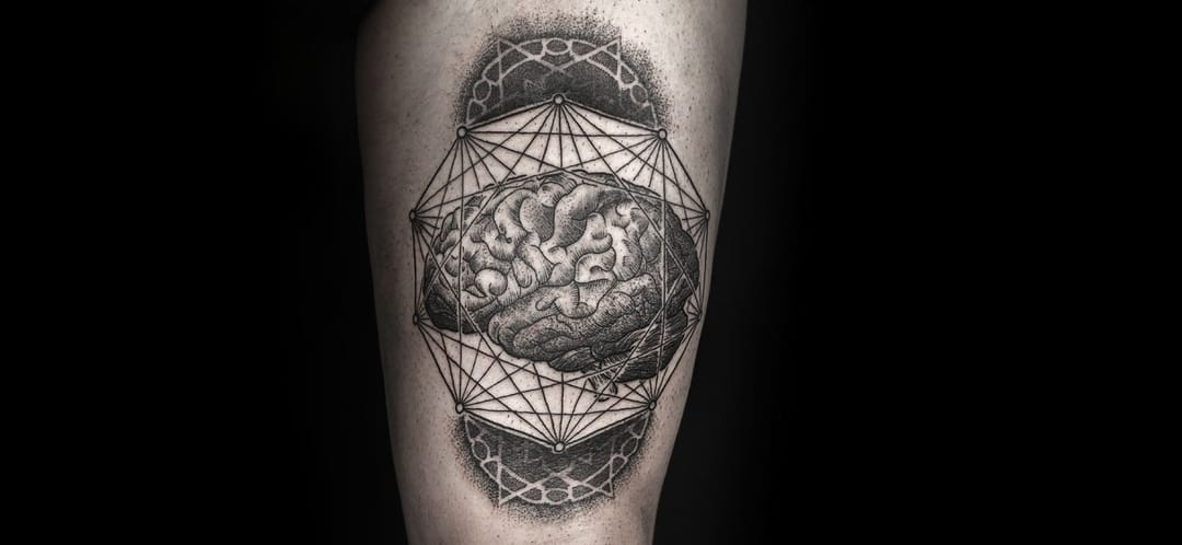 Sacred geometry and anatomical engraving by Daniel Meyer.