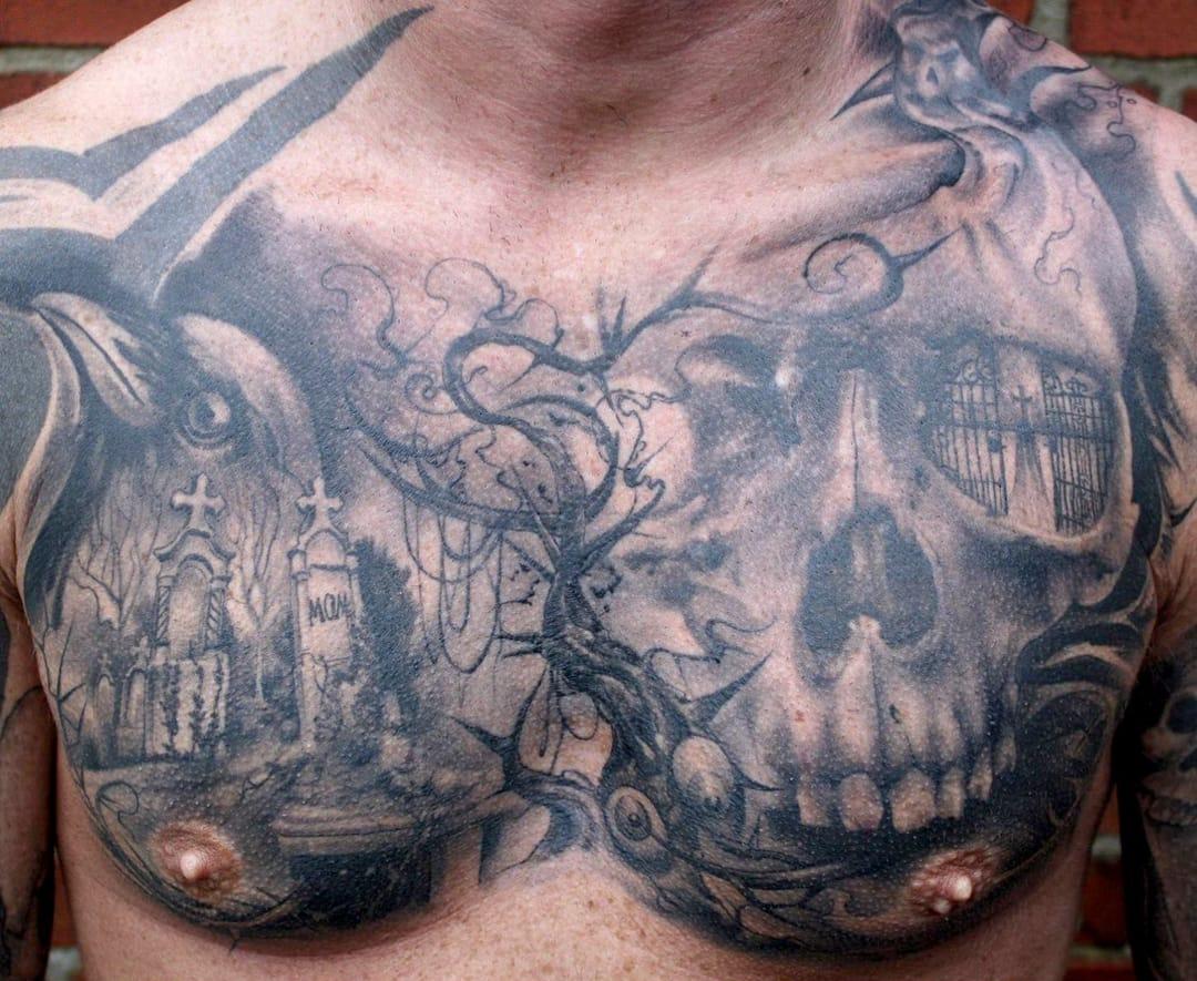 Fenomenal tatuagem de fechamento de peito