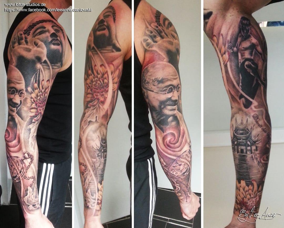 Gandhi sleeve tattoo