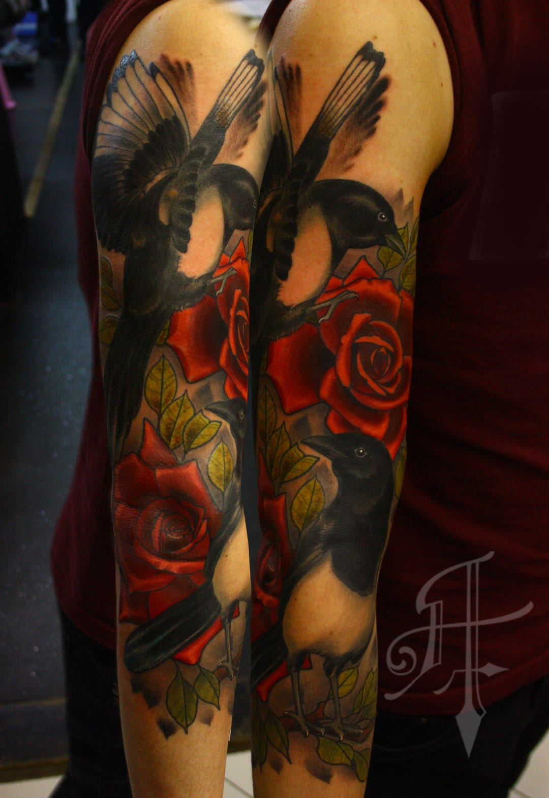 Magpie Rose Tattoo by Antony Fleming