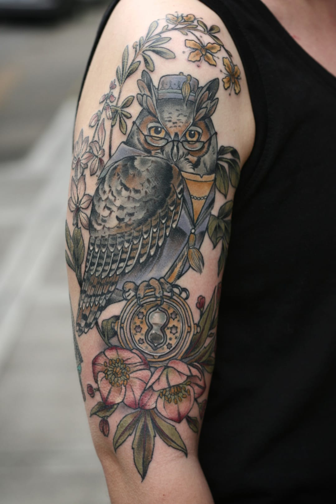 Owl sleeve tattoo.