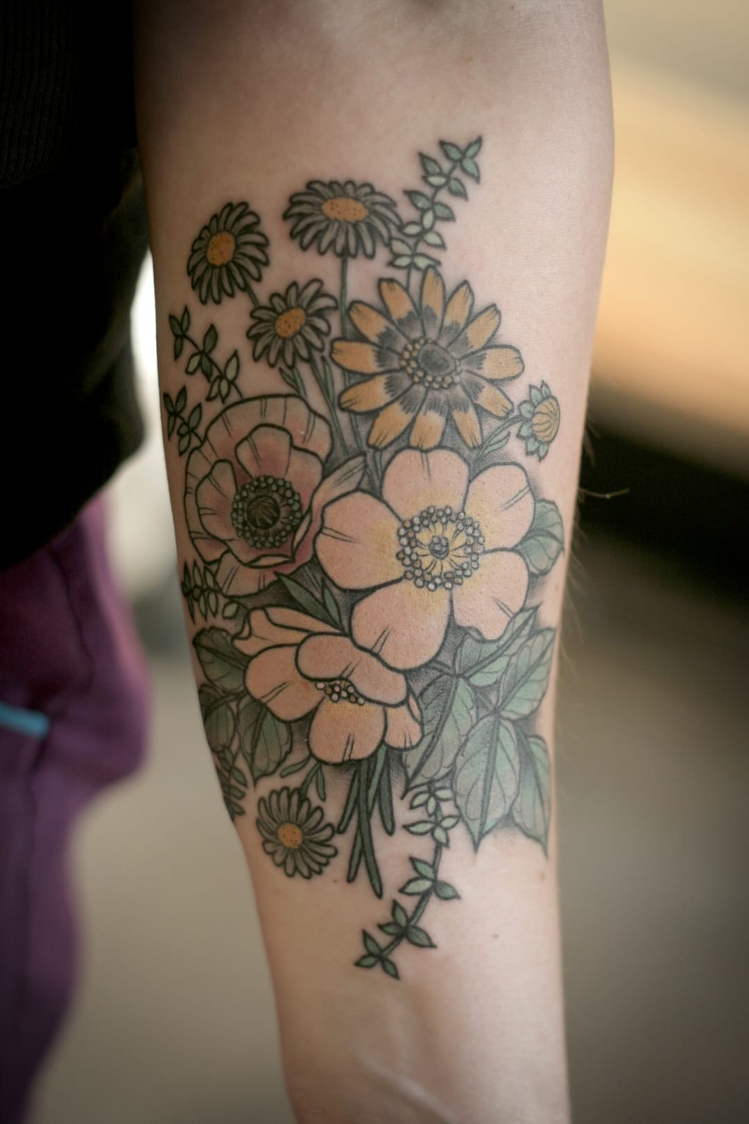 Garden flower tattoo