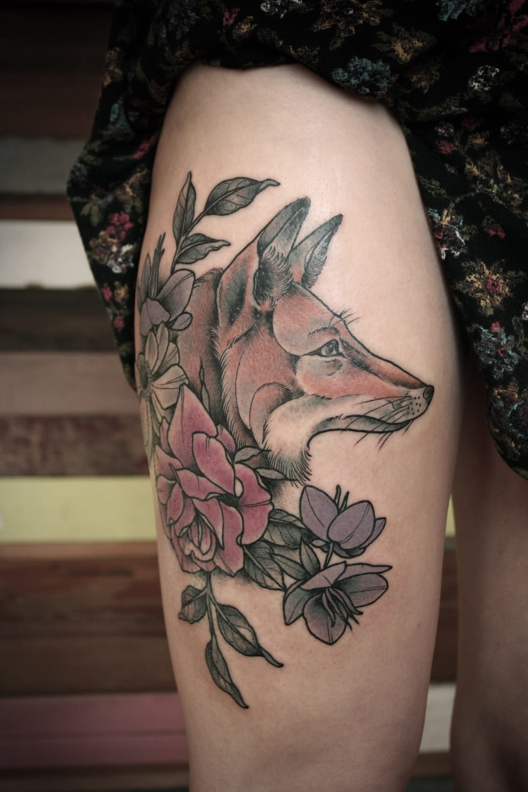 Fox and flower tattoo