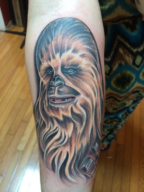 Colored Chewie tattoo.
